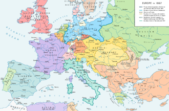 Europe in 1867, after the forming of the North German Confederation, the Italian unification (with the exception of the Roman part of the Papal States) and the Austro-Hungarian Compromise. Europe 1867 map en.png