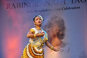 Culture of Kolkata - The Mohiniyattam is being performed to commemorate of 150th birth anniversary of Tagore. It was an Indo-Bangladesh joint celebration in 2011.