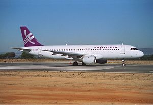 Excalibur Airways - Excalibur Airways Airbus A320 at Faro Airport in 1992.