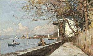 François Bocion - Pêcheur sur le Denantou by François Bocion.