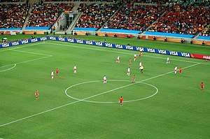 Tiki-taka - Spanish (red kits) midfield position against Switzerland (white kits) at the World Cup in 2010.