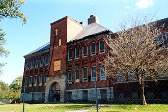 Fairmount, Indiana - Abandoned Fairmount High School building in 2003.  The building was torn down in 2015.