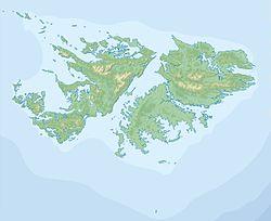 Monte Dos Hermanas(Cerro de la Silla) ubicada en Islas Malvinas