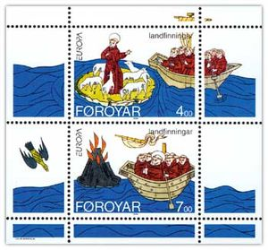 Immram - Brendan discovering the Faroes and Iceland Stamp sheet FR 252–253 of Postverk Føroya Issued: 18 April 1994 Artist: Colin Harrison