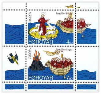 Immram - Brendan discovering the Faroes and Iceland Stamp sheet FR 252–253 of Postverk Føroya Issued: 18 April 1994 Artist: Colin Harrison