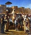 Ferdinand-Victor-Eugène DELACROIX - Moulay Abd-er-Rahman, sultan du Maroc, sortant de son palais de Meknes, entouré de sa garde et de ses principaux officiers. - Musée des Augustins - 2004 1 99.jpg