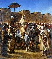 Ferdinand-Victor-Eugène DELACROIX - Moulay Abd-er-Rahman, sultan du Maroc, sortant de son palais de Meknes, entouré de sa garde et de ses principaux officiers. - Musée des Augustins - 2004 1 99