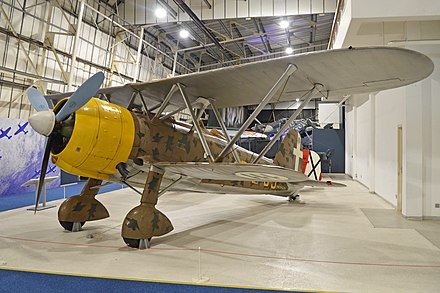 Late 1930s Fiat CR.42 with Warren truss interplane struts which reduced the work needed in rigging a biplane Fiat CR42 'MM5701 - 95-13' (16974203557).jpg