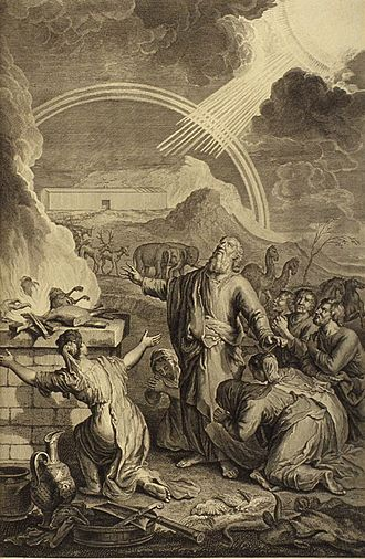 Holocaust (sacrifice) - Noah burning offerings on an altar to the Lord (Gerard Hoet, 1728).