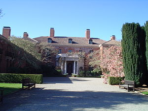 Dynasty (1981 TV series) - An exterior view of Filoli, used as the Carrington mansion on the TV series Dynasty.