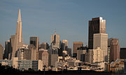 The San Francisco skyline centered within the Financial District