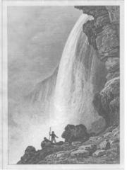 1837 xilografía de las Cataratas del Niágara, reproducida de Etats Unis d'Amerique por Roux de Rochelle.