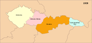 Hutsul Republic - Czechoslovakia between 1919 and 1938, with Subcarpathian Ruthenia shown in blue.