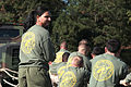 First Sergeant Dawn Adams, Company First Sergeant, Headquarters and Service Company (H&S Co), Marine Corps Combat Service Support Schools (MCCSSS), observes the Marines of H&S Co, MCCSSS, participating in 131025-M-GJ479-015.jpg