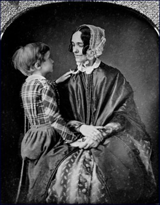 1853 in the United States - The president's wife, Jane, with their son Bennie, ca. 1850