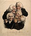 Five decrepit doctors crushed together in consultation. Colo Wellcome V0011711.jpg