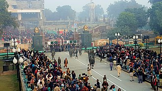Wagah - Image: Flag ceremony at Wahga border of Pak India