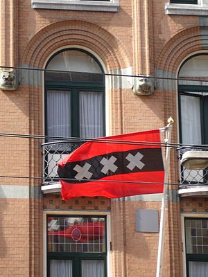 Flag of Amsterdam - Flying flag of Amsterdam.