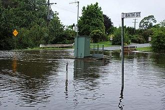 Trentham, Victoria - Bath Street, Trentham during the summer 2011 floods.