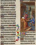 David sobre su trono da Urías una carta en un interior del siglo XV