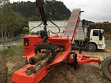 Tree chipper mounted by side to tree processing into Biomass for energetic burning[1]