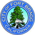 The city's official seal, in chief a salmon superimposed on a redwood tree, the Pacific Ocean set in relief, bordered by a blue circle with the words 'City of Fort Bragg California' appearing within the border in gold block letters