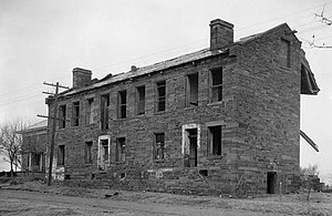 Fort Gibson - Image: Fort Gibson, Barracks Building, Garrison Avenue, Fort Gibson (Muskogee County, Oklahoma)