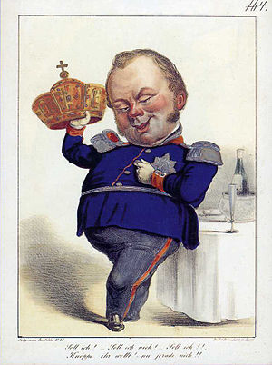 """Imperial Sovereign - The Prussian King, Frederick William IV, in a contemporary caricature with the Frankfurt imperial crown. He makes his decision dependent on the counting of his uniform buttons: """"Should I?, Should I not?, Should I?, Knöppe, you want! No not yet!"""""""