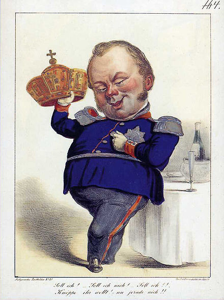 Caricature of Frederick William IV's rejection of the imperial crown; lithograph after a drawing by Isidor Popper.
