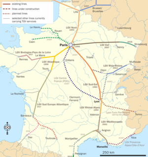 English: Map of French TGV lines in use and un...
