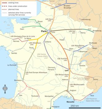 LGV Sud Europe Atlantique - TGV lines in France, with the LGV Sud Europe Atlantique in ochre.