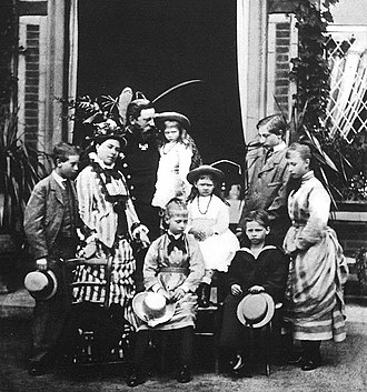 Princess Charlotte of Prussia - Princess Charlotte with her parents and siblings. Standing left to right: Prince Heinrich, Crown Princess Victoria, Crown Prince Frederick with Princess Margaret, Prince Wilhelm, and Princess Charlotte(far right). (seated left to right) Princess Victoria, Princess Sophie and Prince Waldemar. 1875