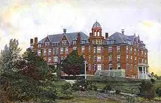 University of Southern Maine - Robie Andrews Hall is one of the original Gorham State College buildings. It is now primarily a residence hall with some mixed academic usage on the first floor. Taken from a 1907 postcard.