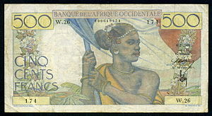 French West African franc - French West Africa 500 Francs banknote of 1946.