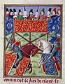 French knights jousting - Froissart's Chronicles (Volume IV, part 1) (1470-1475), f.19v - BL Harley MS 4379.jpg