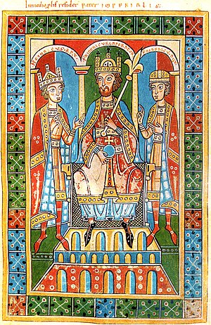 Barbarossa, middle, flanked by his two children, King Henry VI (left) and Duke Frederick VI (right). From the Welf Chronicle