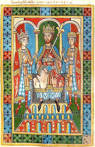 Henry VI, Holy Roman Emperor - Frederick Barbarossa with his sons Henry and Frederick, Historia Welforum, Weingarten Abbey, c. 1180