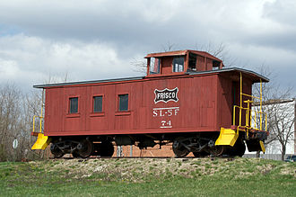 St. Louis–San Francisco Railway - Preserved wooden caboose on display in Missouri
