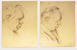Edwin Fischer - Two drawings of Fischer by the German artist and musician Fritz Tennigkeit (1892–1949)