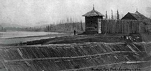 The palisades of Fort Langley and the Fraser River in 1862