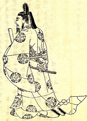 Murasaki Shikibu - Fujiwara no Michinaga, (19th-century monochrome illustration by Kikuchi Yōsai), became extremely powerful during Murasaki's lifetime.