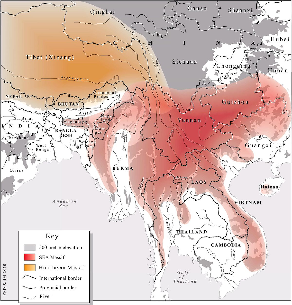 The Southeast Asian Massif (in red) next to the Himalayan Massif (in yellow)[5]