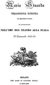 Titelblatt des Librettos, Mailand 1835