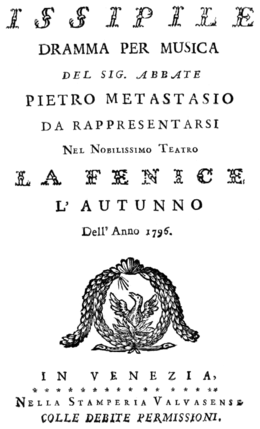 Gaetano Marinelli - Issipile - titlepage of the libretto - Venice 1796.png