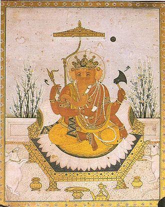 Ganesha - A typical four-armed form. Miniature of Nurpur school (circa 1810)
