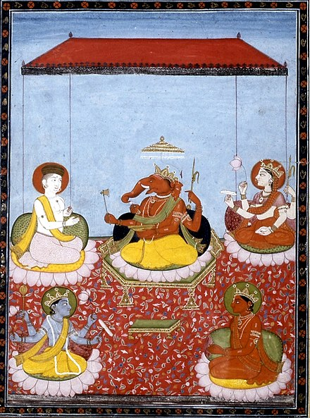 "A Ganesha-centric Panchayatana (""five deities"", from the Smarta tradition): Ganesha (centre) with Shiva (top left), Parvati (top right), Vishnu (bottom left) and Surya (bottom right). All these deities also have separate sects dedicated to them. Ganesha pachayatana.jpg"
