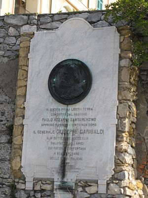 Porto Venere - Plaque dedicated to Giuseppe Garibaldi.
