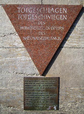 Persecution of homosexuals in Nazi Germany - Pink Triangle memorial to gay men persecuted by the Nazi regime in Nollendorfplatz.