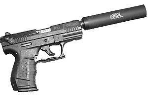 Walther P22 - The threaded barrel of the P22 simplifies the attachment of certain accessories, such as this GEMTECH suppressor