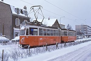 Trams in Geneva - SWP motor car 724, and trailer 323, on Rue de Genève, 1980s.